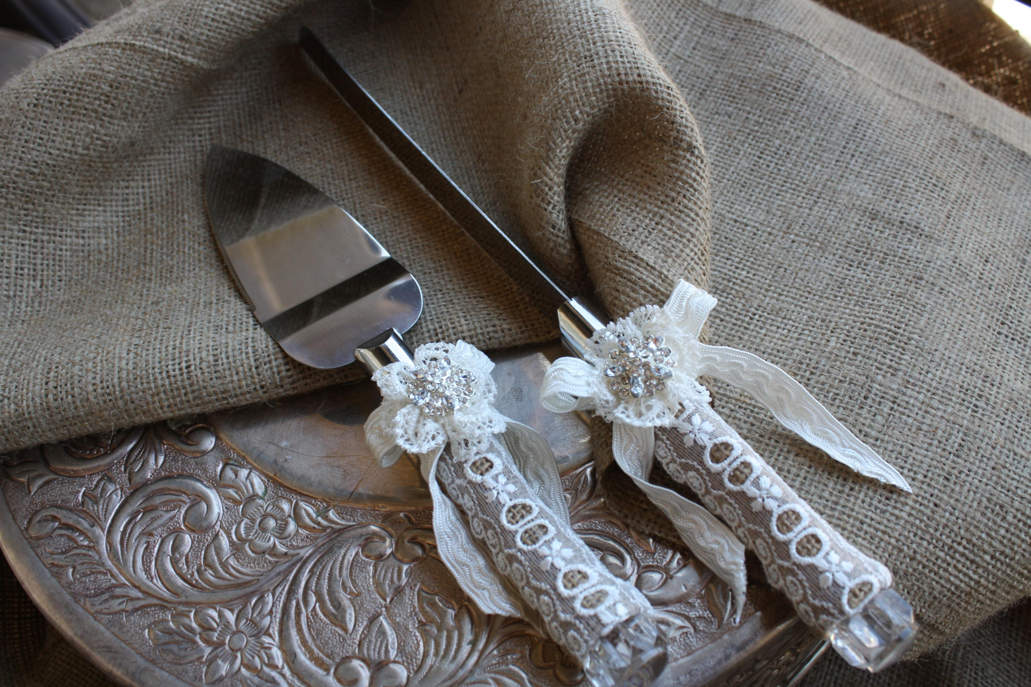 Wedding Cake Server And Knife Set Country Rustic Chic Burlap Lace